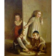 Elena Flerova - Dreidel II   Jewish Art Oil Painting Gallery