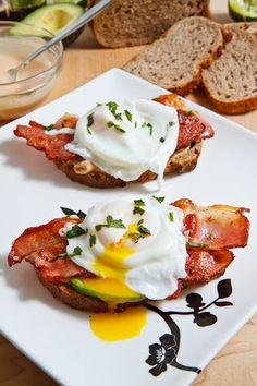 A recipe for Poached Egg on Toast with Chipotle Mayonnaise, Bacon and Avocado : Open faced bacon, avocado and poached egg sandwich with creamy chipotle lime mayonnaise. Poached Eggs On Toast, Bacon Avocado, Poached Egg Recipes, Avocado Food, Avocado On Toast, Breakfast Toast, Breakfast Recipes, Breakfast Sandwiches, Birthday Cakes