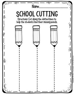 Free Printable Worksheets for Preschool! Back to School Theme. Cutting Straight Lines. preschool Free Printable Worksheets for Preschool & Kindergarten Preschool Cutting Practice, Preschool Writing, Free Preschool, Preschool Learning Activities, Preschool Lessons, Preschool Kindergarten, Kindergarten Worksheets, Preschool Curriculum Free, Toddler Activities