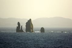 Da Drongs are a series of granite stacks rising from the sea in St Magnus Bay, best seen from Braewick, Eshaness.