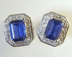 Ceylon Sapphire Blue Sapphire Earrings Sapphire Stud Earrings Baguette Earrings Modernist Earrings Minimalist Earrings 14K Gold Earrings Unique Earrings, Beautiful Earrings, Sapphire Earrings, Diamond Earrings, Blue Sapphire, Ceylon Sapphire, Halo Diamond, Sapphire Diamond, Earring Crafts