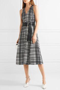 Diane von Furstenberg - Plaid Belted Silk-twill Midi Dress - Gray - US