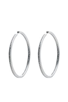 """Exciting and elegant, these large eye-catching classic hoop earrings shimmer with over 80 hand cut cubic zirconia stones.18k white gold over a fine jeweler's alloy cubic zirconiastones.    Approx. Measures:2.25"""" diameter.   Sexy Hoop Earrings by Jesse's Birl Boulevard Boutique. Accessories - Jewelry - Earrings - Hoops Orlando, Florida"""