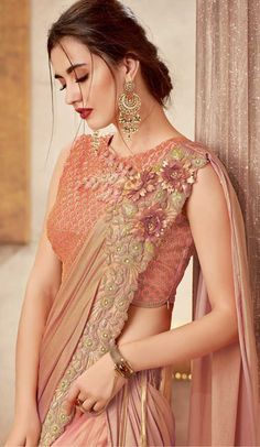 Appear as pretty as pretty can be in this Peach Color Soft Silk Designer Party Wear Lehenga Choli. lehenga features chanticleer jari embroidery with coding Lehenga Style Saree, Party Wear Lehenga, Saree Dress, Lehenga Choli, Anarkali, Dress Up, Bridal Lehenga, Indian Silk Sarees, Indian Beauty Saree