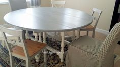 Old drop leaf dining room table gets a new look!  Adagio Gray, White Dove legs and glazed.