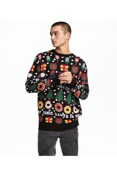 Jacquard-knit Christmas jumper - Black/Patterned - Men | H&M GB 1