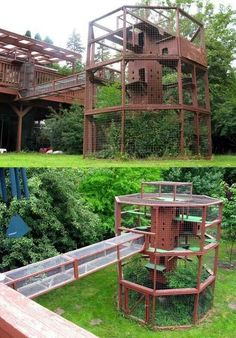 The Ultimate Cat Tree - Catio! I wish I could build a cat run half this size for my furries. Diy Cat Enclosure, Outdoor Cat Enclosure, Pet Enclosures, Rabbit Enclosure, Cat Towers, Cat Playground, Outdoor Cats, Outdoor Trees, Cat House Outdoor