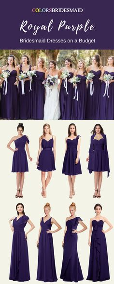 These long and short bridesmaid dresses in royal purple color are so beautiful.The trendy styles of A-line, strapless, V-neckline, sweetheart neckline etc are so attractive. They are mostly sold under $100. What cheap bridesmaid dresses they are with a high quality. They are suitable for summer or fall weddings.