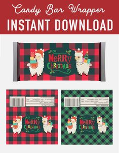 SALE Christmas Candy Bar Wrappers labels - llama alpaca Lumberjack Buffalo Plaid - Hershey Bar - Glad to Make It - Holidays Christmas Candy Bar, Christmas Christmas, Christmas Decorations, Hershey Candy Bars, Hershey Bar, Candy Bar Labels, Candy Bar Wrappers, Christmas Printables, Party Printables