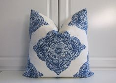 Pillow Cover-John Robshaw-Indigo Medallion Square by SewWhatAlley