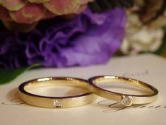 ゴールドに、アンティークな仕上げを加えた結婚指輪 [marriage,wedding,ring,bridal,diamond,K18,マリッジリング,結婚指輪,オーダーメイド,ダイヤモンド,ウエディング,ith,イズマリッジ]