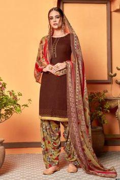Patiyala Dress, Daily Wear, Dark Brown, Ethnic, Swarovski, Sari, Buttons, Suits, How To Wear