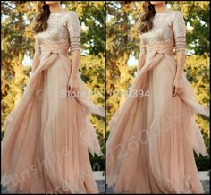 2015 New Fashion O Neck Half Sleeve Gold Sequines Pink Chiffon Long Fitted Prom Party Dress Evening Gown
