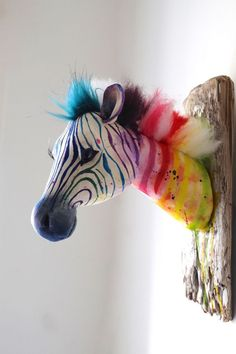 Welcome to my Rainbow zebra! This is a handmade piece of textile art that would brighten any room. Textile Sculpture, Soft Sculpture, Textile Art, Animal Head Decor, Paper Mache Animals, Paper Mache Animal Heads, Rainbow Zebra, Faux Taxidermy, Simple Shapes