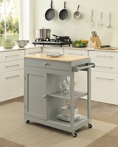 KITCHEN ISLAND on Wheels Mobile Dining Room Storage Butcher Block Shelves in Home & Garden, Kitchen, Dining & Bar, Kitchen Islands/Kitchen Carts | eBay
