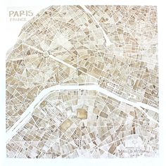 Paris France 8x8 sepia watercolor map print Home by SummitRidge, $25.00