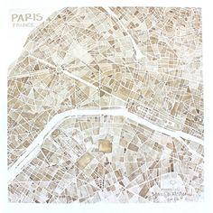 Paris France 8x8 sepia watercolor map print Home by SummitRidge, $25.00
