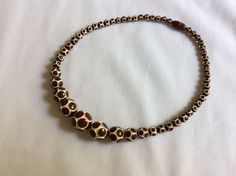 Vintage Brown and Cream Carved Bead Necklace