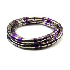 Bendy Flexible and Shapeable Snake Necklace in Silver and Purple Tone