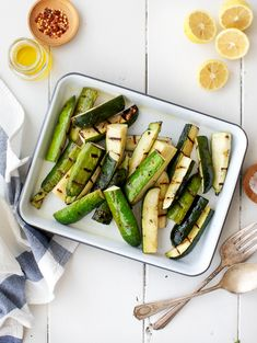 Learn how to grill zucchini with this easy recipe! I love to serve it with lemony Greek yogurt, fresh herbs, and feta for a simple, elevated summer side dish. Vegetarian Grilling, Vegetarian Appetizers, Healthy Grilling, Grilling Recipes, Appetizer Recipes, Barbecue Recipes, Grilled Zucchini Recipes, Grilled Asparagus, Grilled Vegetables