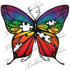This might be the best autism awareness type tatt I have ever seen!! I want to get this so badly just don't know where to put it. I would want it to visible but professional. Marketplace Tattoo Rainbow butterfly missing puzzle pieces #18452 | CreateMyTattoo.com.