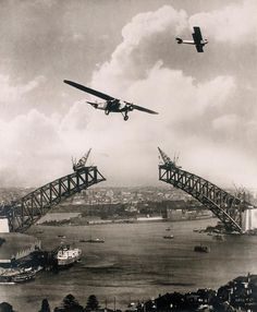 """Sydney Harbour Bridge during construction, with two aeroplanes, Charles Ulm's """"Southern Sun"""" a Gypsy Moth / photomontage by Edward Searl (by State Library of New South Wales collection) Harbor Bridge, Sydney Harbour Bridge, Old Pictures, Old Photos, Vintage Photos, Vintage Ideas, Brisbane, Melbourne, Sydney Australia"""