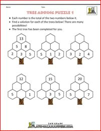 Printable Math Puzzles - Tree Adding Puzzle Use addition and subtraction skills to find the missing numbers on the trees. First Grade Math Worksheets, Free Printable Math Worksheets, Second Grade Math, Grade 2, Math Logic Puzzles, Math 2, Math For Kids, Addition And Subtraction, Waldorf Math