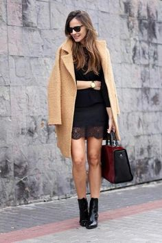 date night outfit - camel coat worn with black lace dress and patent leather ankle boots