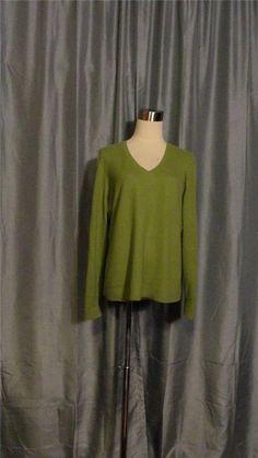 ANN TAYLOR Green Apple Green 100% Cashmere V-Neck Long Sleeves Sweater Size XL #ValerieStevens #VNeck