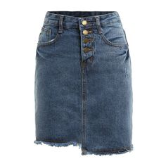 SheIn(sheinside) Buttons Fringe Asymmetrical Denim Skirt (€13) ❤ liked on Polyvore featuring skirts, blue, asymmetrical skirt, denim skirt, button skirt, short blue skirt and fringe skirt