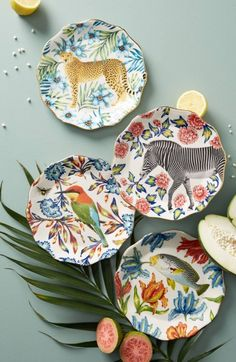 Tropical Trend Dining and Summer Party Anthropologie Nature Table Dessert Plate *afflink* Pottery Painting, Ceramic Painting, Ceramic Art, Ceramic Decor, Ceramic Plates, Ceramic Pottery, Decorative Plates, Design Plat, Plate Design