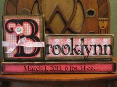 Customized Girl's Name Birth Announcement Block Sign