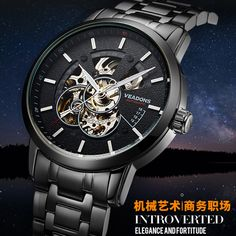 US $64.60 - VEADONS Luxury Brand Business Men Watches Gold Hollow Skeleton Luminous Mechanical Watch Steel Automatic Waterproof winner Clock