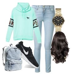 School Days by miasade19 on Polyvore featuring polyvore, fashion, style, Victoria's Secret PINK, Frame Denim, NIKE and Marc by Marc Jacobs