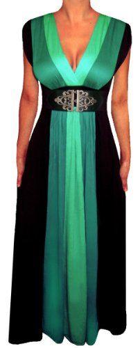 FUNFASH EMERALD GREEN BLACK COLOR BLOCK MAXI DRESS WOMEN