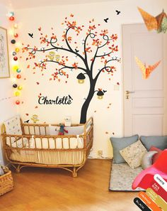 Personalised nursery wall tree decal with owls birds birdcages blossoms and personalised babies name