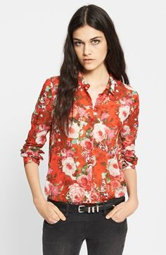 The Kooples Red Floral Print Cotton Blouse available at #Nordstrom