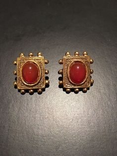 Vintage Gold Tone Red Cab Clip on Earrings | eBay