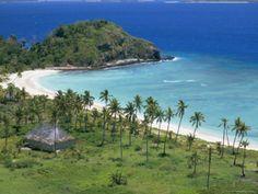 Coconut Plantation and Old Farmhouse Beside Coral Sand Bay, Mana Island, Mamanuca Group, Fiji