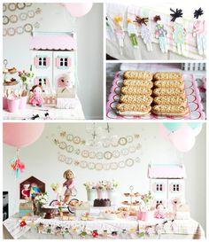Dollhouse themed birthday party via Kara's Party Ideas KarasPartyIdeas.com Invitation, decor, cake, favors, supplies, and more! (2)