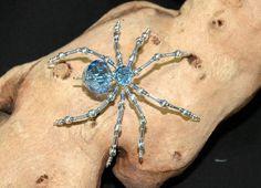 Pale Blue Glass Beaded Spider ~ Handmade by Erin Roy ~ Bears*n*Bling | Bear Pile