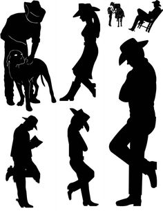 Cowboy Silhouette Clip Art | Life-Size Leaning Cowboys & Cowgirls. Any Size you need, in many ...