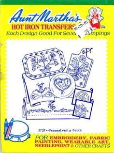 Aunt Martha 3727 Pennsylvania Dutch. A Retired Out of Print 1960s Hand Embroidery Iron on Transfer.