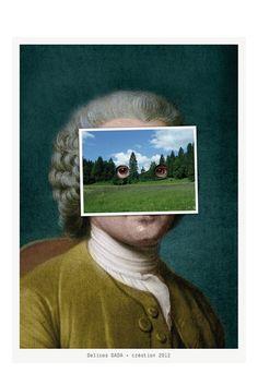 Programme pour la Compagnie Delices DADA, annonce de la création 'Rousseau des champs' Impression quadri sur papier bouffant Munken Print White 300g (main 1.8) Texte composé en Tstar Mono Round (© Mika Mischler)