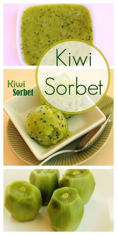 Frozen fruit sorbet is a great way to get kids to eat fresh fruit. This Kiwi Sorbet is a deliciously tart and creamy sweet treat. Kiwi Dessert, Dessert Aux Fruits, Kiwi Fruit Recipes, Dessert Recipes, Juice Recipes, Salad Recipes, Blender Recipes, Healthy Snacks, Healthy Recipes