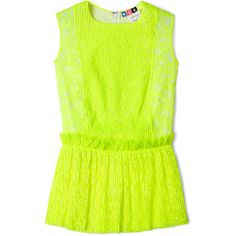 MSGM Fluoro Yellow Lace Sleeveless Peplum Top ($309) ❤ liked on Polyvore