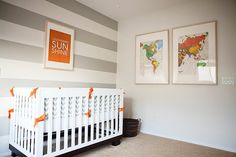 Rugby stripes instead if chevron, would be easier for sure. Grey, White, and Orange- boys room.