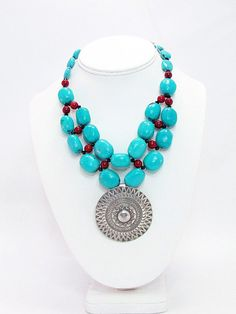 Turquoise and Coral Necklace with Hill Tribes by daksdesigns