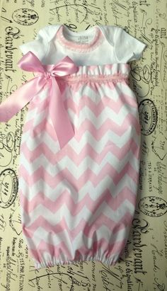 Baby Onesie Chevron Dress in Baby Pink