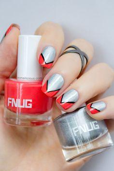 Orange and gray nails. Nail art. Nail design. Polish. Polishes. FNUG Psychedelic - Review: http://sonailicious.com/holographic-polish-fnug-psychedelic-review/